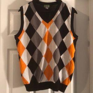 Smart Looking Men's Black & Orange Argyle Vest